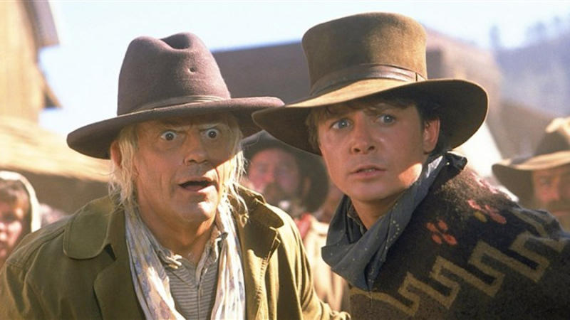 Christopher Lloyd and Michael J. Fox in 'Back to the Future Part III'. (Credit: Universal)