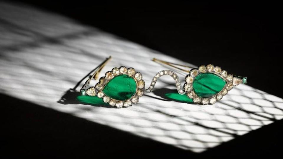 The Mughal-era pair of spectacles with emerald lenses will be auctioned in London later this month  (Sotheby's)