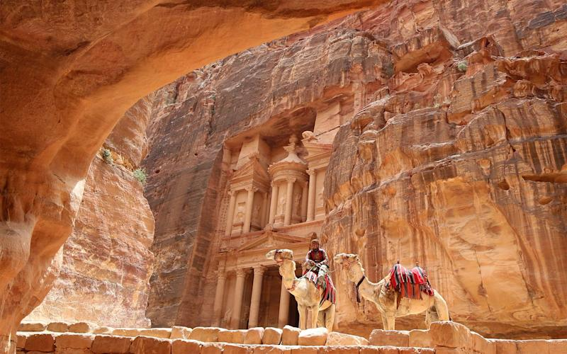The rock-hewn city of Petra - Credit: AFP