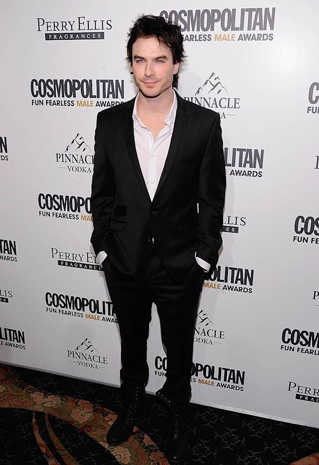 """""""Vampire Diaries"""" hunk Ian Somerhalder was also in attendance at the soiree. Prior to the event he tweeted: """"Going to hang with Cosmo Mag peeps and a bunch of hot actor dudes- ladies eat your heart out... Cosmo thanks for the trip to NY!"""" Dimitrios Kambouris/<a href=""""http://www.wireimage.com"""" target=""""new"""">WireImage.com</a> - March 7, 2011"""