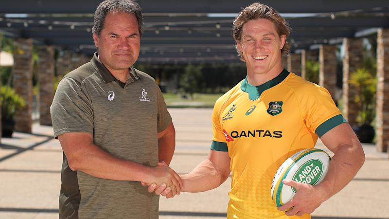 Michael Hooper, pictured here with Dave Rennie after being announced as the Wallabies captain.