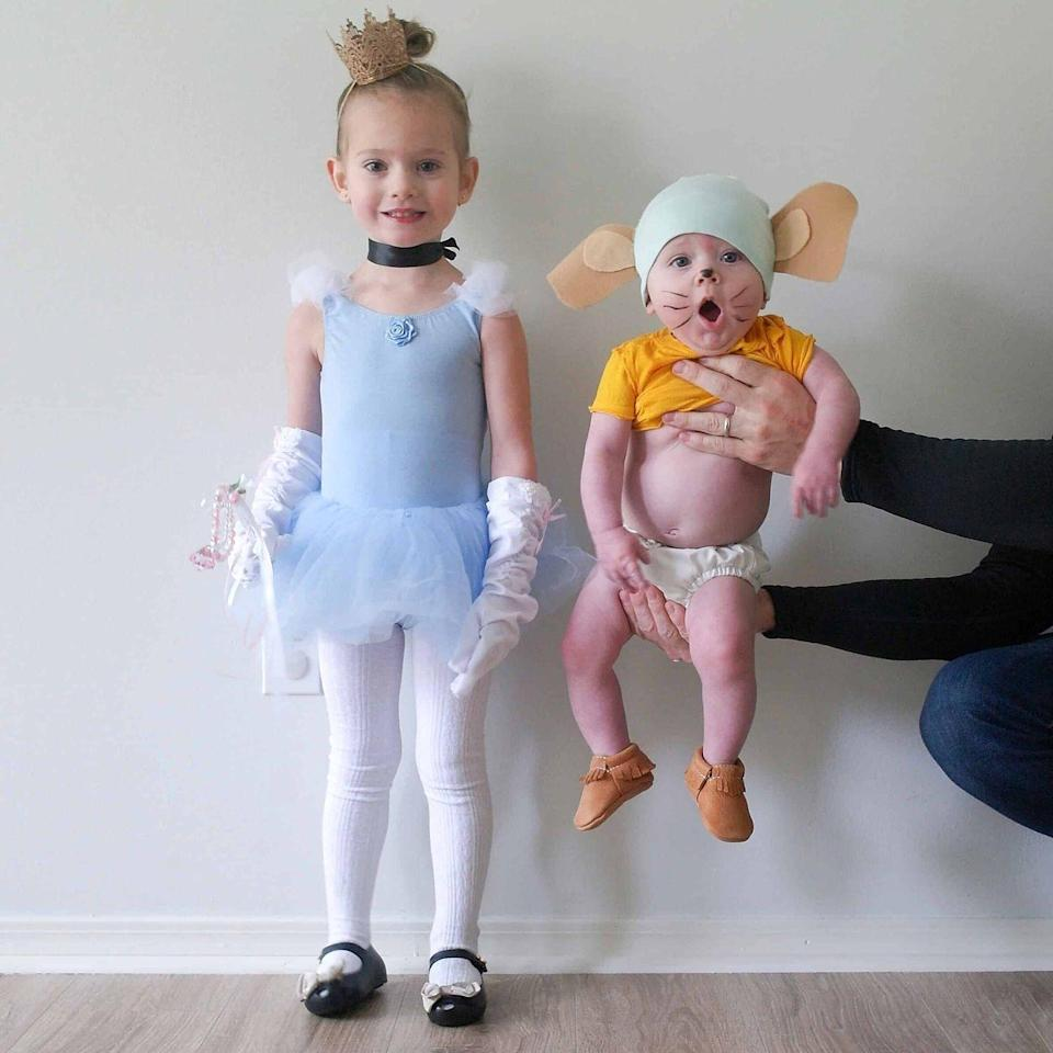 """<p>Your little one will be the belle of the ball as long as she has support from her magical helper, Gus. Other Cinderella sidekicks could be a <a href=""""https://www.amazon.com/Amosfun-Halloween-Performance-Photography-Clothing/dp/B07WFSSD8S/?tag=syn-yahoo-20&ascsubtag=%5Bartid%7C10055.g.33300912%5Bsrc%7Cyahoo-us"""" rel=""""nofollow noopener"""" target=""""_blank"""" data-ylk=""""slk:pumpkin"""" class=""""link rapid-noclick-resp"""">pumpkin</a>, <a href=""""https://www.amazon.com/Disguise-Fairy-Godmother-Deluxe-Costume/dp/B00SJOZSXI?tag=syn-yahoo-20&ascsubtag=%5Bartid%7C10055.g.33300912%5Bsrc%7Cyahoo-us"""" rel=""""nofollow noopener"""" target=""""_blank"""" data-ylk=""""slk:fairy godmother"""" class=""""link rapid-noclick-resp"""">fairy godmother</a>, or <a href=""""https://www.amazon.com/Rubies-Disfraz-infantil-monarca-Collection/dp/B07PZ8YMJT/?tag=syn-yahoo-20&ascsubtag=%5Bartid%7C10055.g.33300912%5Bsrc%7Cyahoo-us"""" rel=""""nofollow noopener"""" target=""""_blank"""" data-ylk=""""slk:prince charming"""" class=""""link rapid-noclick-resp"""">prince charming</a>. </p><p><a href=""""https://arinsolangeathome.com/last-minute-toddler-halloween-costumes/img_3618/"""" rel=""""nofollow noopener"""" target=""""_blank"""" data-ylk=""""slk:Get the tutorial at Arin Solange at Home »"""" class=""""link rapid-noclick-resp""""><em>Get the tutorial at Arin Solange at Home »</em></a><br></p>"""