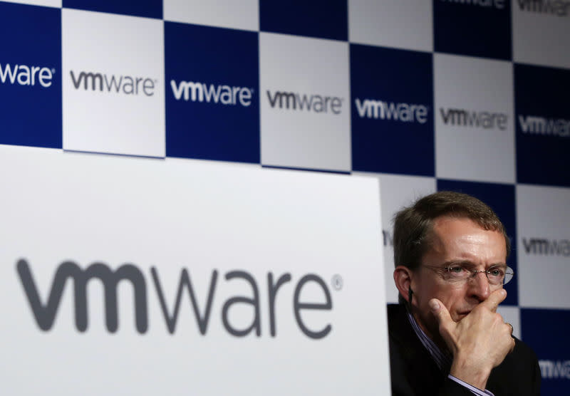 VMware CEO Pat Gelsinger addresses a news conference in Tokyo