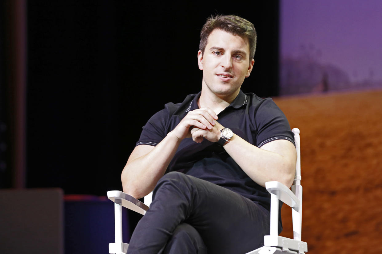 Airbnb CEO Brian Chesky appears on stage during the 'The Game Plan: Strategies for Entrepreneurs' Airbnb Open 2016 on November 19, 2016 in Los Angeles, California. (Photo by Kurt Krieger/Corbis via Getty Images) EDITORS NOTE: Image has been digitally retouched