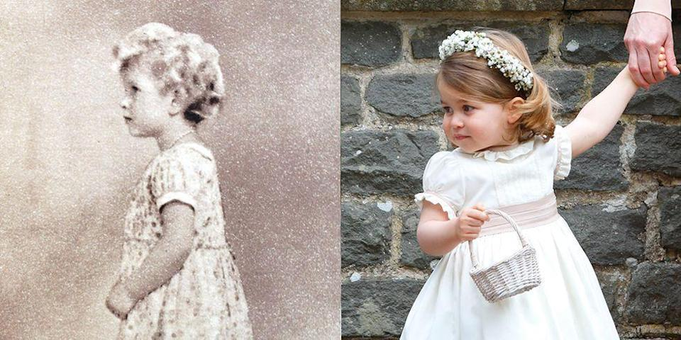 "<p><strong>LEFT:</strong> A young Princess Elizabeth poses for a portrait wearing a dress not unlike the ones Charlotte still wears today. </p><p><strong>RIGHT:</strong> Princess Charlotte attends <a href=""https://www.goodhousekeeping.com/life/a20687056/pippa-middleton-husband-james-matthews/"" rel=""nofollow noopener"" target=""_blank"" data-ylk=""slk:her aunt Pippa Middleton"" class=""link rapid-noclick-resp"">her aunt Pippa Middleton</a>'s wedding to James Matthews on May 20, 2017 in Englefield Green, England.</p>"