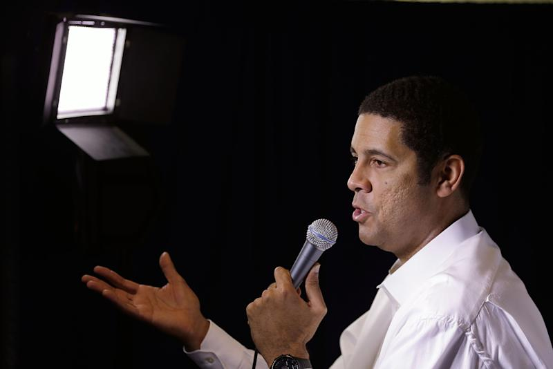 CHARLOTTE, NC - JANUARY 27: Car owner Brad Daugherty answers questions during the NASCAR Sprint Media Tour at the Charlotte Convention Center on January 27, 2015 in Charlotte, North Carolina. (Photo by Bob Leverone/NASCAR via Getty Images)