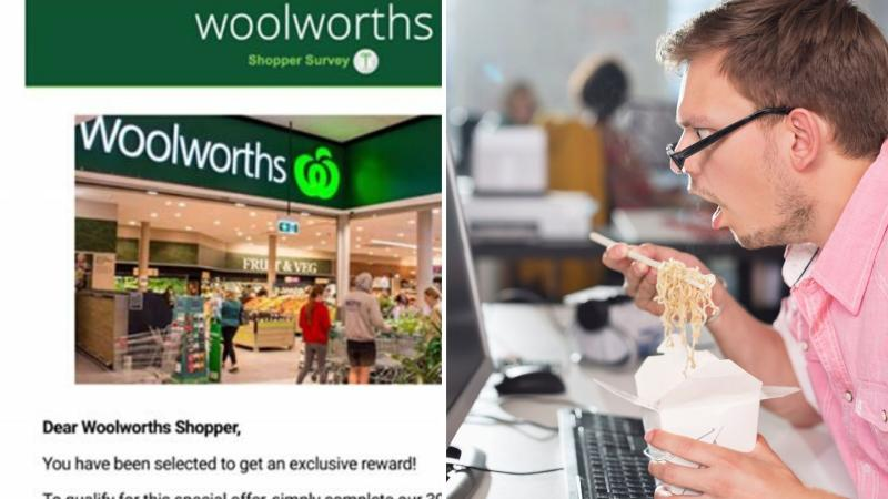 Woolworths scam email on the left and a shocked man looking at his computer on the right.