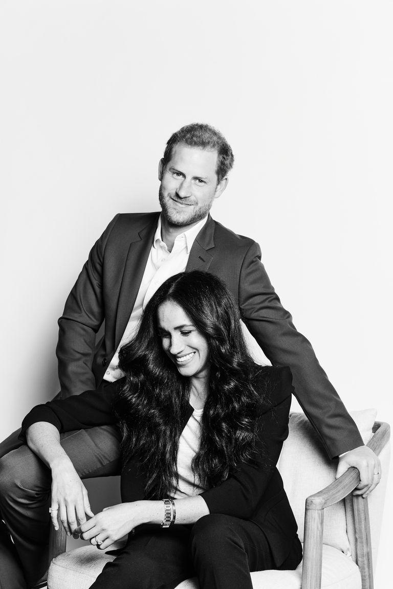 <p>Harry and Meghan posed for a candid new black and white portrait.</p>