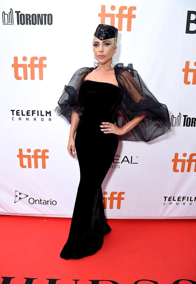 <p>Promoting her upcoming film 'A Star Is Born', Gaga wowed in a dramatic look by Giorgio Armani Prive. <em>[Photo: Getty]</em> </p>