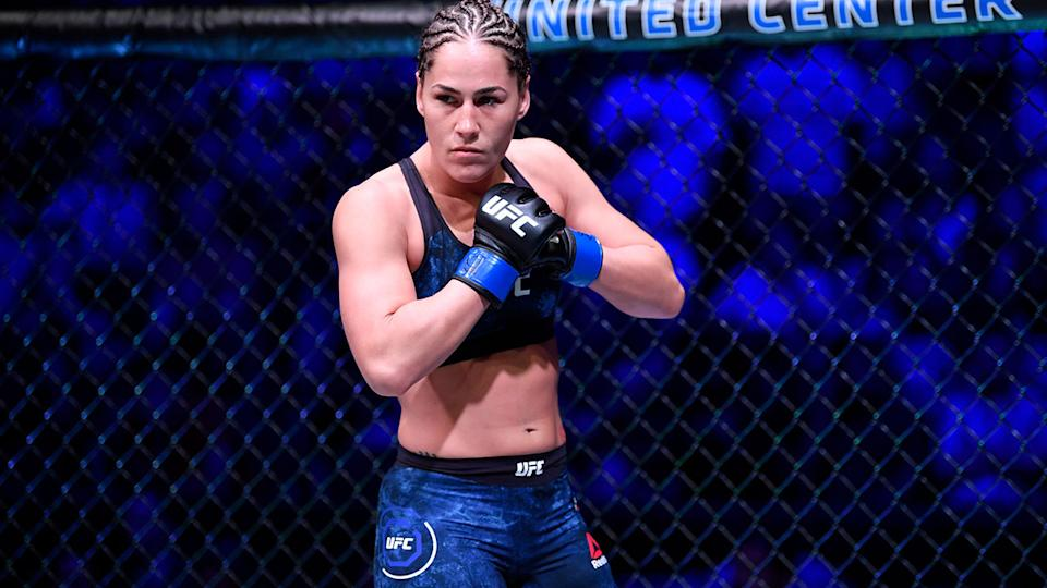 Jessica Eye, pictured here before her fight against Valentina Shevchenko at UFC 238.
