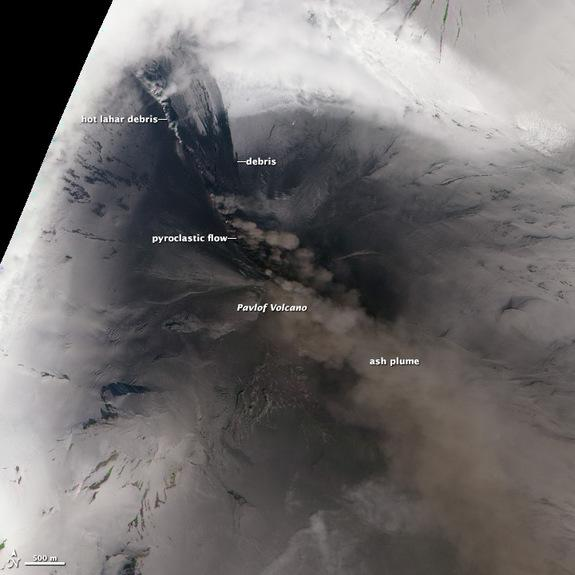 A pyroclastic flow, a superheated, fluid mix of gas, lava and melted snow, raced down the slopes of Alaska's Pavlof volcano after it erupted May 13, 2013.