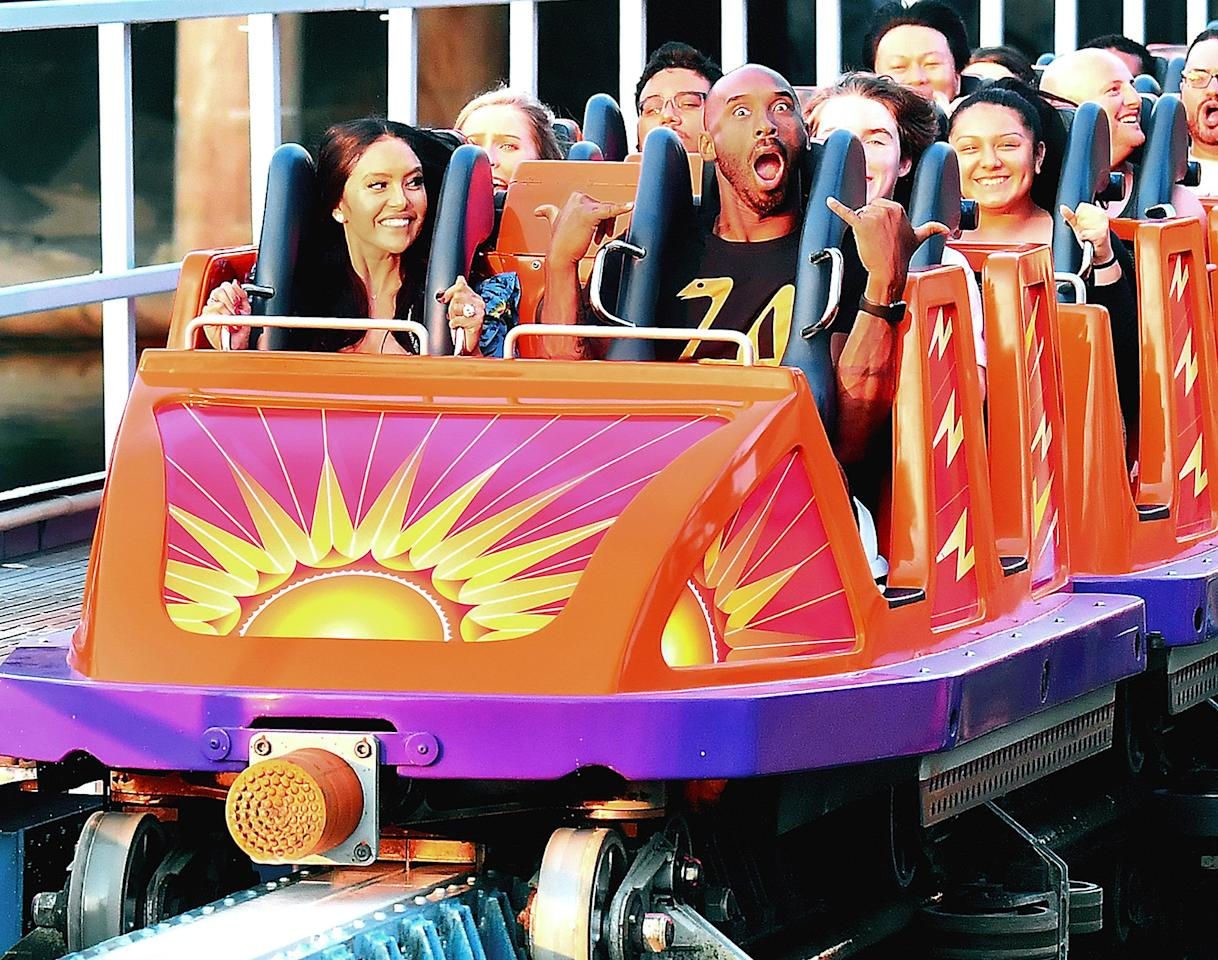 While those with a fear of heights might not think so, we're 100 percent positive thrill seekers would be as pumped as Kobe Bryant was to ride Disneyland's California Screamin' coaster.