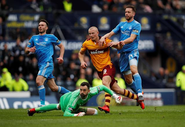 Soccer Football - Scottish Cup Semi-Final - Motherwell vs Aberdeen - Hampden Park, Glasgow, Britain - April 14, 2018 Motherwell's Curtis Main scores their third goal Action Images via Reuters/Lee Smith