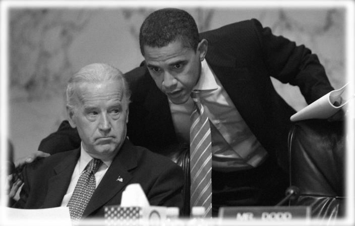 Senate Foreign Relations Committee Chairman Joe Biden and Sen. Barack Obama during a 2007 committee hearing on Iraq. (Photo: Susan Walsh/AP; digitally enhanced by Yahoo News)