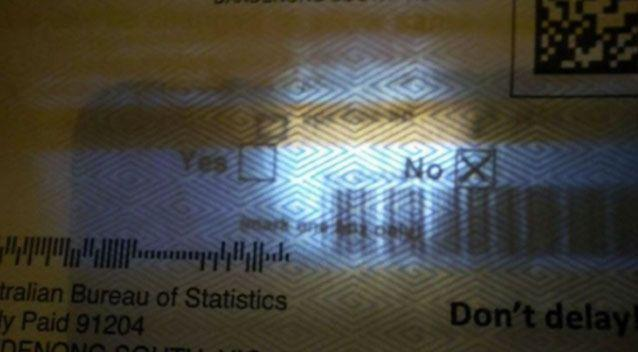 Australians are claiming their same-sex marriage postal vote responses can be seen inside the envelope under light. Photo: Reddit
