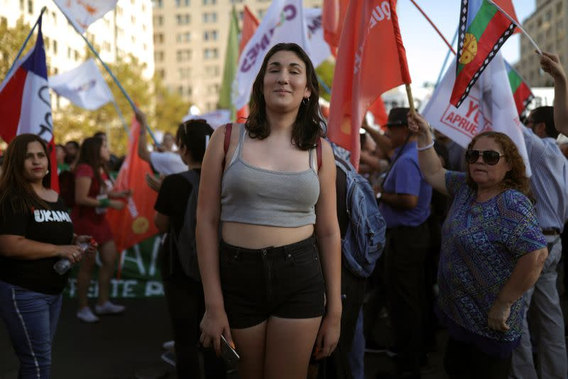 Chilean Emilia Schneider, a transgender woman, student and political activist, attends a gathering during the public launch of the campaign for the 2020 plebiscite, in Santiago