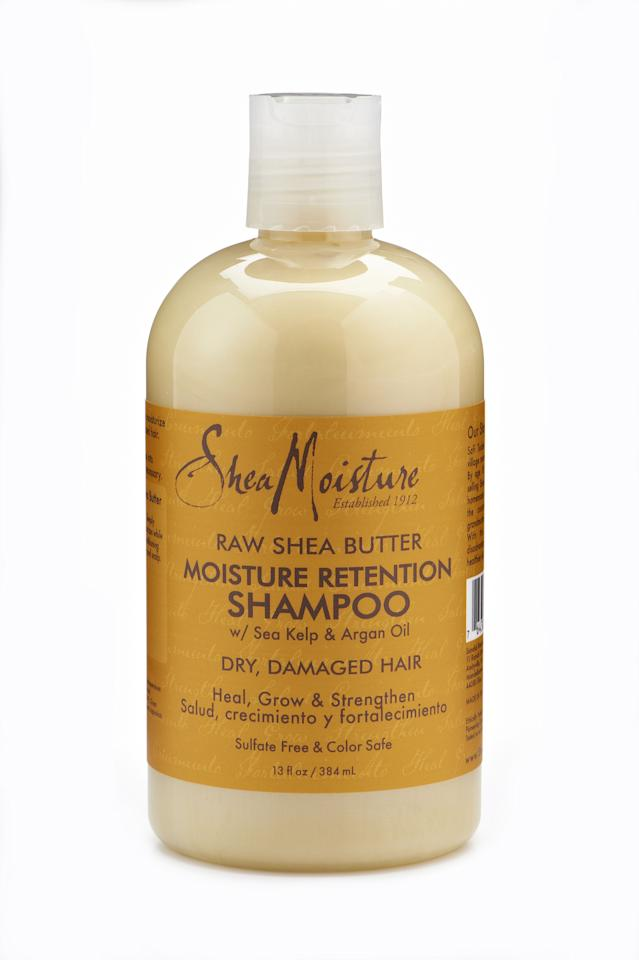 """<p><strong>Shea Moisture </strong></p><p>amazon.com</p><p><strong>$8.62</strong></p><p><a href=""""http://www.amazon.com/dp/B0038TVHGG/?tag=syn-yahoo-20&ascsubtag=%5Bartid%7C10051.g.25056431%5Bsrc%7Cyahoo-us"""" target=""""_blank"""">Shop Now</a></p><p>This sulfate and paraben-free shampoo repairs heat damaged strands with the help of sea kelp and argan oil. Ideal for natural hair during the transition period, your strands will be strong and long in no time. </p>"""