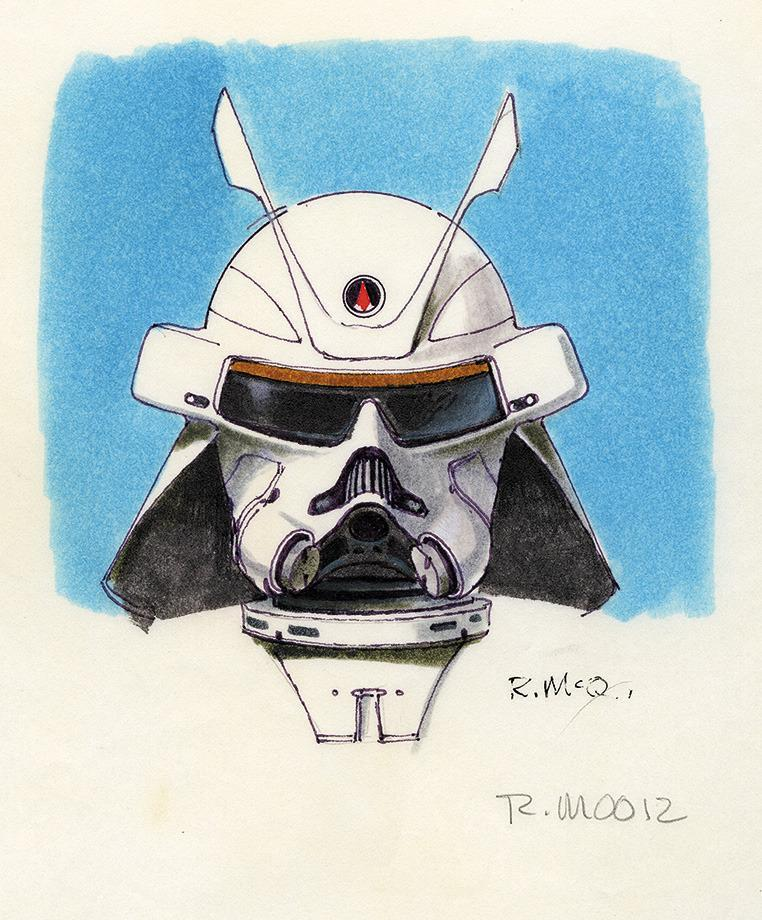 """<p>Asked if there were any unused concepts he'd like to see in a future 'Star Wars' project, Mandel points to this guy. """"From the early days of Ralph's work on 'Empire Strikes Back,' there were concepts for the Snowtrooper Commander,"""" he says. """"There was a real samurai feel to the armor and helmet ? some of this work later led to the Boba Fett helmet."""" </p>"""