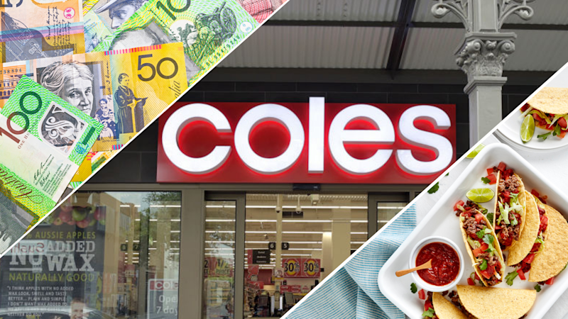 Pictued: Coles supermarket, Australian cash and Coles Mexican Beef taco recipe. Images: Getty