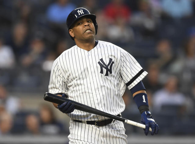 New York Yankees' Edwin Encarnacion reacts after making an out during the fourth inning of a baseball game against the Tampa Bay Rays, Monday, June 17, 2019, in New York. (AP Photo/Sarah Stier)