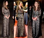 <p>This black lace Temperley London gown has been worn by the Duchess of Cambridge many times, most notably in January and November 2012 and later in December 2013. </p>