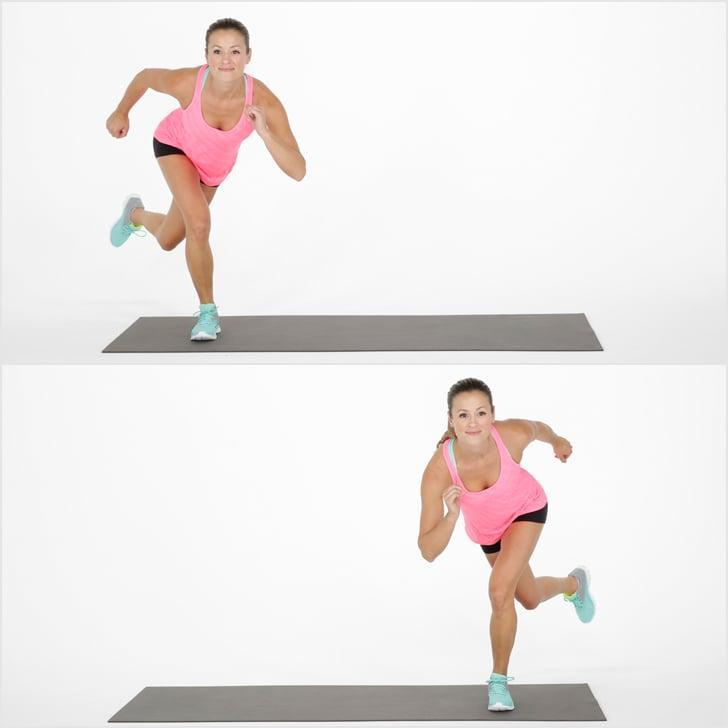 <ul> <li>Start in a small squat. Jump sideways to the right, landing on your right leg. Bring your left leg behind you, but don't let your left foot touch the floor. Keeping your chest up, deepen the bend your in your right knee to work your glute muscles even more.</li> <li>Reverse direction by jumping to the left leading with your left leg, allowing your arms to swing to the sides as you jump sideways, landing on your right foot. This completes one rep.</li> <li>Complete for 30 seconds, followed by 10 seconds of rest. Repeat for a total of three rounds.</li> </ul>