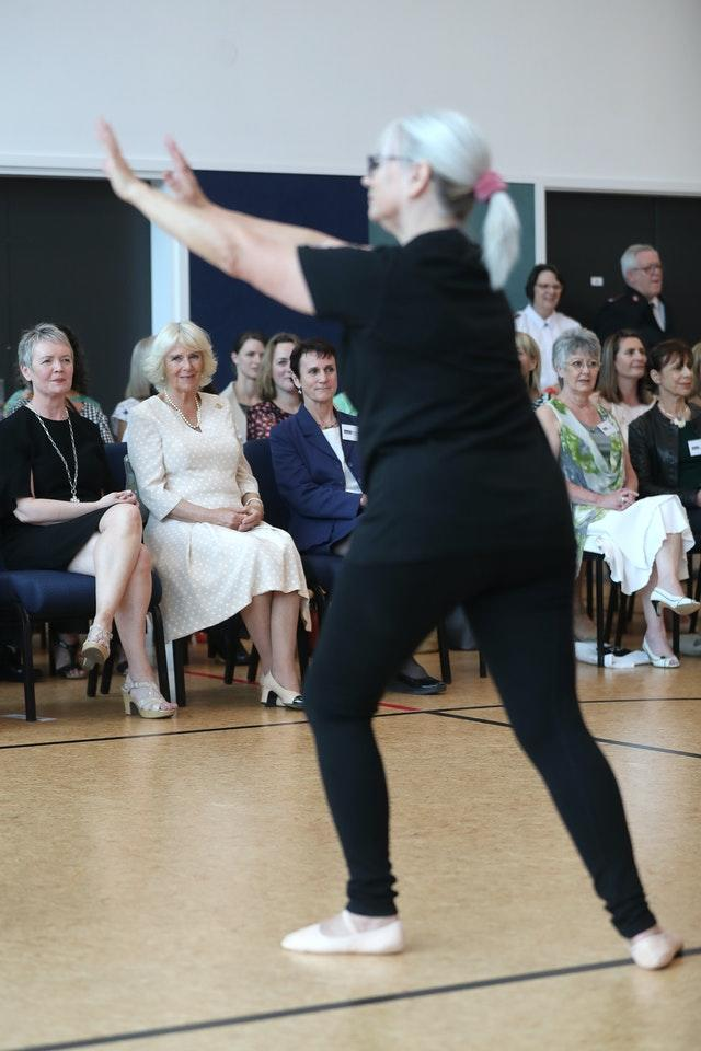 Camilla watching Silver Swans dancers during an active elderly engagement at the Salvation Army Centre in Christchurch, New Zealand. Chris Jackson/PA Wire