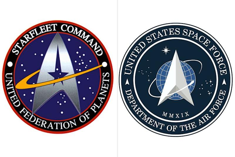 Star Trek's Starfleet logo (left) and United States Space Force logo (right) | Star Trek; US Government