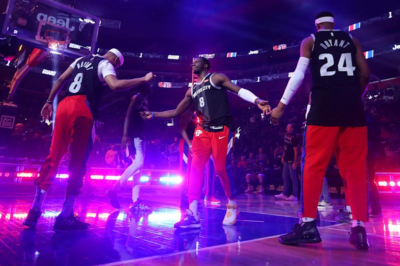 Pistons players donned black Kobe Bryant jerseys during their pre-game introductions on Monday. (Gregory Shamus/Getty Images)