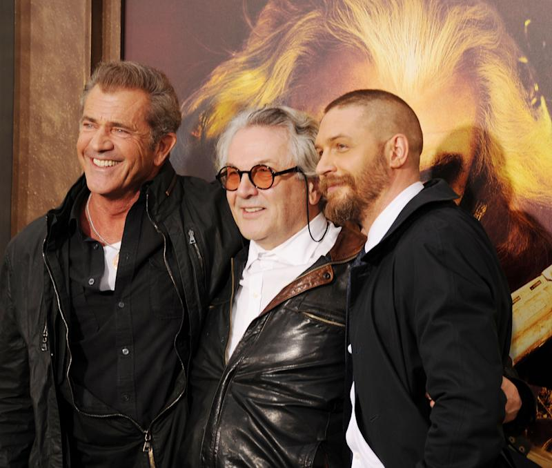 "HOLLYWOOD, CA - MAY 07: (L-R) Actor Mel Gibson, director George Miller and actor Tom Hardy arrive at the ""Mad Max: Fury Road"" Los Angeles Premiere at TCL Chinese Theatre IMAX on May 7, 2015 in Hollywood, California.(Photo by Jeffrey Mayer/WireImage)"