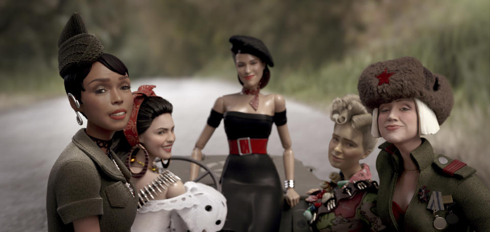 """This image released by Universal Pictures shows the dolls of Marwen, from left, GI Julie, voiced by Janelle Monáe, Carlala, voiced by Eiza Gonzalez, Suzette, voiced by Leslie Zemeckis, Roberta, voiced by Merritt Wever and Anna, voiced by Gwendoline Christie, in """"Welcome to Marwen."""" (Ed Araquel/Universal Pictures via AP)"""