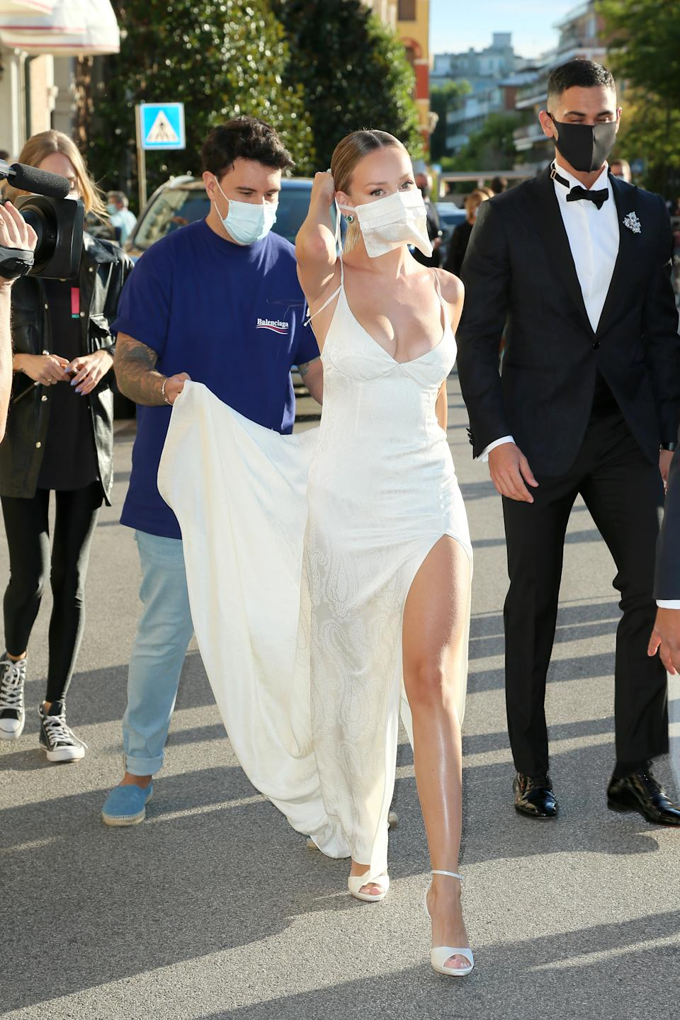 VENICE, ITALY - SEPTEMBER 02: Ester Exposito is seen arriving at the 77th Venice Film Festival on September 02, 2020 in Venice, Italy. (Photo by Ernesto S. Ruscio/Getty Images)