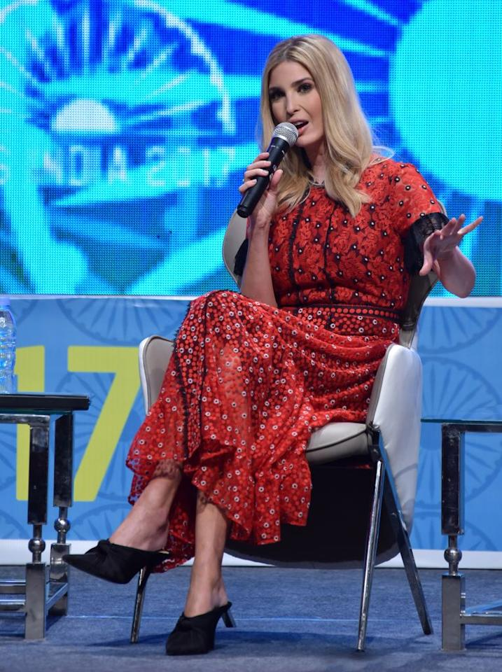 <p>On Wednesday 29 November, Ivanka Trump donned a red poppy-emblazoned dress complete with backless mules for the Global Entrepreneurship Summit in India. <em>[Photo: Getty]</em><br /></p>