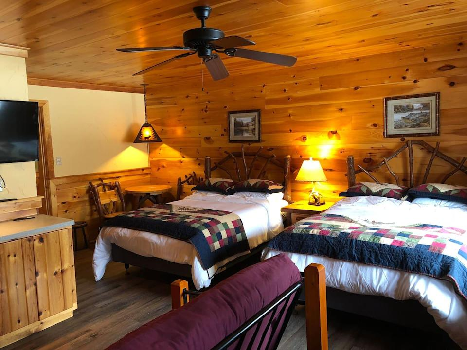 """<h2>Lake Placid, New York <br></h2><br><strong>Location:</strong> Wilmington, NY<br><strong>Sleeps:</strong> 7<br><strong>Price Per Night:</strong> <a href=""""https://airbnb.pvxt.net/oeNEAm"""" rel=""""nofollow noopener"""" target=""""_blank"""" data-ylk=""""slk:$375"""" class=""""link rapid-noclick-resp"""">$375</a><br><br>""""We are a bed & breakfast/boutique lodge near Whiteface Ski & Bike Center in Wilmington, NY. We have 10 total guest rooms. This listing is for <em>one</em> of our guest rooms.""""<br><br><h3>Book <a href=""""https://airbnb.pvxt.net/oeNEAm"""" rel=""""nofollow noopener"""" target=""""_blank"""" data-ylk=""""slk:Chalet Whiteface"""" class=""""link rapid-noclick-resp"""">Chalet Whiteface</a></h3>"""