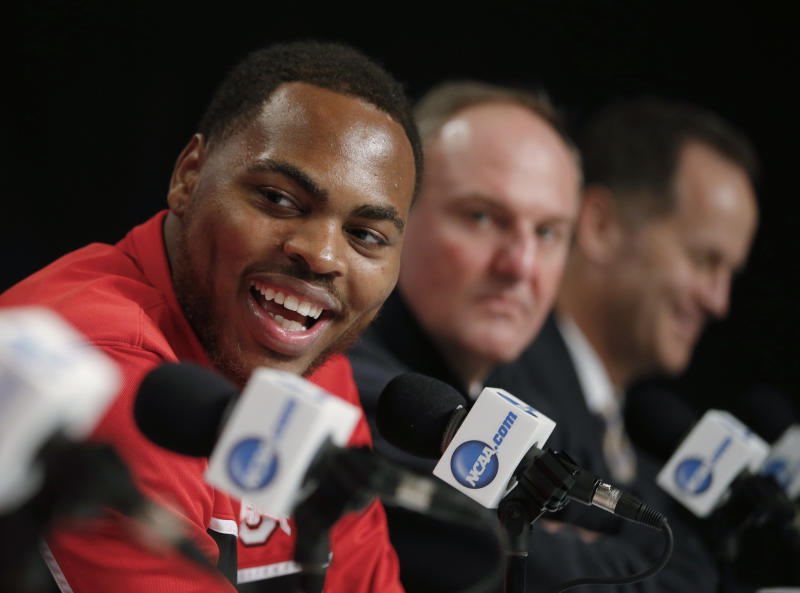 Ohio State's Deshaun Thomas smiles during a news conference in Los Angeles, Friday, March 29, 2013. Ohio State plays Wichita State in the West Regional final of the NCAA men's college basketball tournament Saturday. (AP Photo/Jae C. Hong)