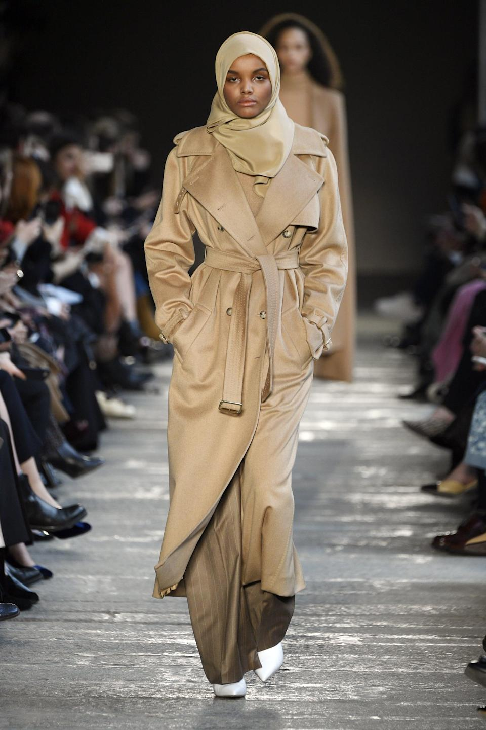 """<p>The first Muslim woman to wear a hijab on the international high-fashion catwalk and the first woman to wear a hijab on the cover of of an American fashion or beauty magazine, Halima Aden has never played it safe in the modeling world. Aden grew up in a refugee camp in Kenya and now works as a UNICEF ambassador and activist. Though she's reportedly <a href=""""https://www.popsugar.com/fashion/halima-aden-hijab-journey-in-fashion-48008245"""" class=""""link rapid-noclick-resp"""" rel=""""nofollow noopener"""" target=""""_blank"""" data-ylk=""""slk:taking a break from the runway"""">taking a break from the runway</a>, she's walked for Gucci, Calvin Klein, Balenciaga, and many other top brands.</p>"""