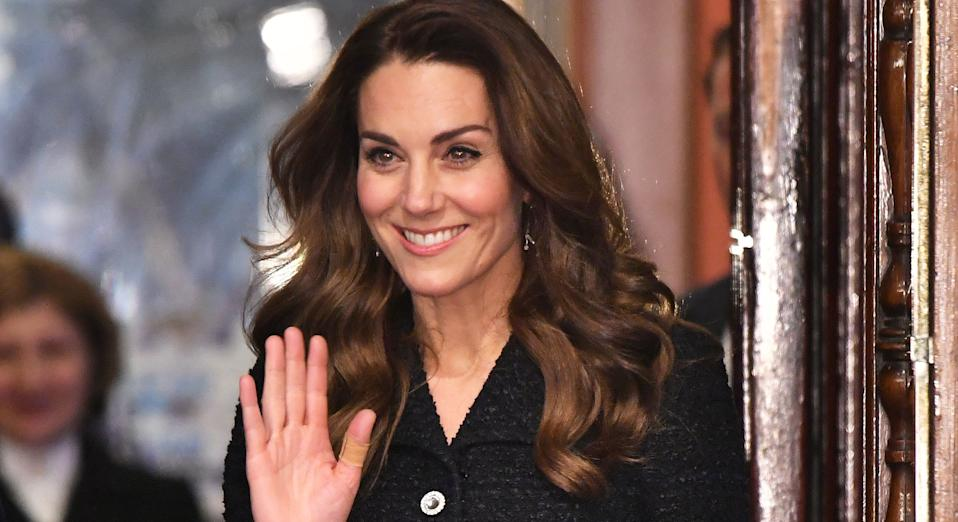 The Duchess of Cambridge leaves the Noel Coward Theatre in London after attending a special performance of Dear Evan Hansen.