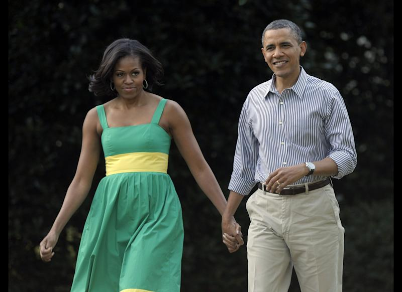 President Barack Obama and first lady Michelle Obama arrive at the Congressional picnic on the South Lawn of the White House in Washington, Wednesday, June 27, 2012.