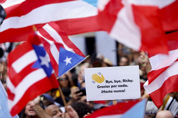 Puerto Rican flags and signs above a crowd