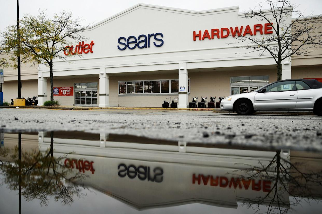 A sign for a Sears Outlet department store is displayed in Norristown, Pa., Monday, Oct. 15, 2018. Sears Hometown and Outlet Stores, Inc. is not part of the Sears Holdings Corp.'s Chapter 11 bankruptcy filing on Oct. 15. Sears Hometown and Outlet Stores separated from Sears Holdings in 2012. (AP Photo/Matt Rourke, File)