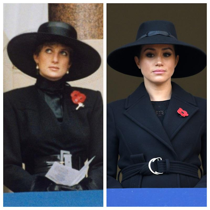 Princess Diana at the Remembrance Sunday Service in 1991, left, and Duchess Meghan, right, at the Remembrance Sunday Service on Nov. 10, 2019.