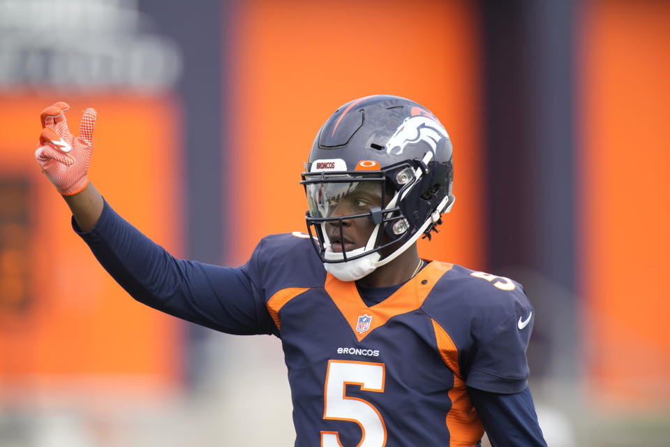 Denver Broncos quarterback Teddy Bridgewater takes part in drills at an NFL football training camp practice Tuesday, Aug. 3, 2021, at team headquarters in Englewood, Colo. (AP Photo/David Zalubowski)