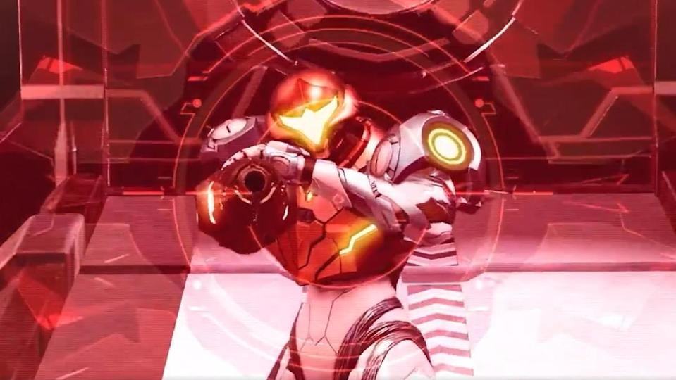 An evil alien's crosshair-point of view aims at our hero Samus Aran in a teaser for the new Nintendo game Metroid Dread.