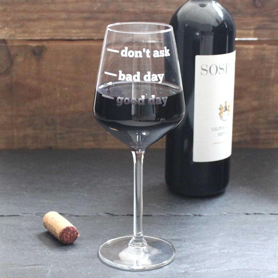 """<p>Because she doesn't need to explain herself.</p><p><a rel=""""nofollow"""" href=""""http://www.notonthehighstreet.com/beckybroomeltd/product/personalised-wine-glass?mbid=synd_yahoostyle"""">notonthehighstreet.com</a>, $39.09</p>"""