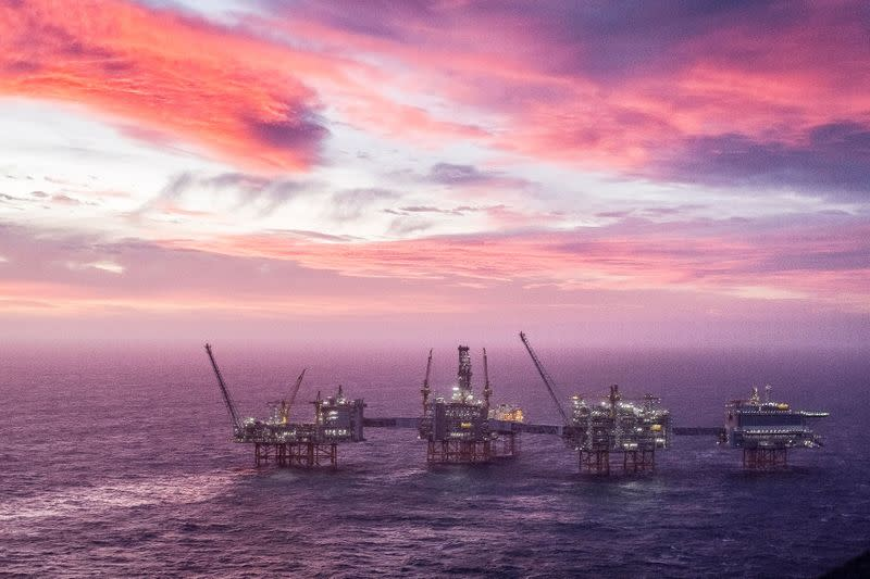 A view of the Johan Sverdrup oilfield in the North Sea