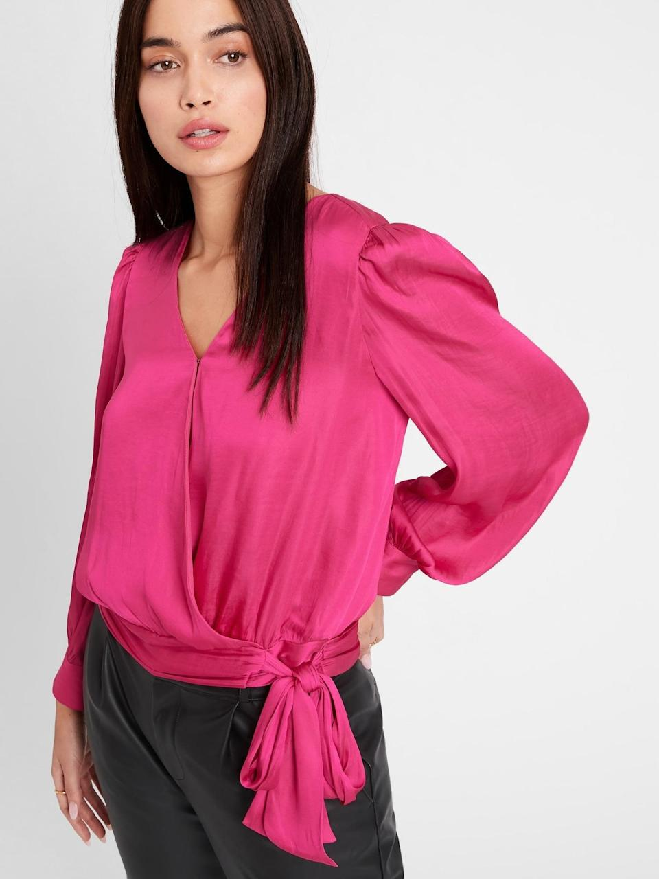 <p>The gorgeous pink of this <span>Banana Republic Satin Wrap Top</span> ($29, originally $85) is great for Valentine's Day!</p>