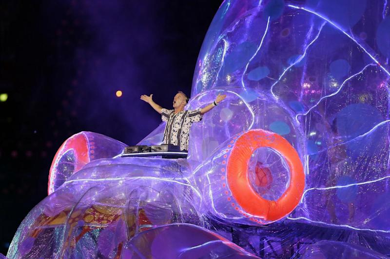 Fatboy Slim performs during the Closing Ceremony at the 2012 Summer Olympics, Sunday, Aug. 12, 2012, in London. (AP Photo/Kristy Wigglesworth)