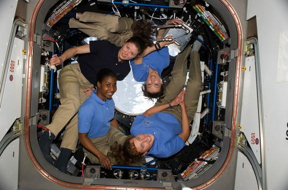 Four women serving together on the International Space Station on April 14, 2010, represented the highest number of women in space simultaneously. Clockwise from lower right are NASA astronauts Dorothy Metcalf-Lindenburger, Stephanie Wilson, bo