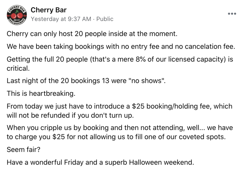 A post to Facebook from the bar revealed it would be introducing a booking fee.