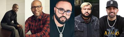 """Joining TRILLER as investors and strategic partners are music industry notables (from left to right), Gee Roberson, Shawn Gee, Tony W. Sal, Amir """"Cash"""" Esmailian, and Mo Shalizi. (PRNewsfoto/TRILLER)"""